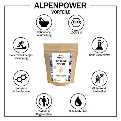 ALPENPOWER | BIO TRINKHAFER | Komplexe Kohlenhydrate | Gute Löslichkeit | Ohne Zusatzstoffe | 100% reines Hafervollkornpulver | Organic Oats | 1000 g