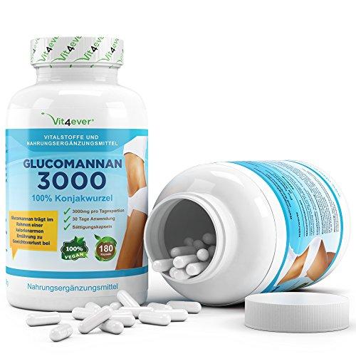 Glucomannan – 180 Kapseln – 3000mg – 30 Tage Anwendung – Sättigungskapseln – 100% Konjac Wurzel – Gewichtsverlust – Vit4ever