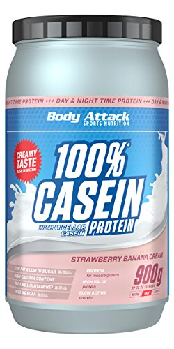 Body Attack 100% Casein Protein, Strawberry Banana, 900 g