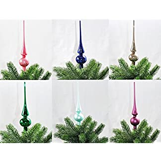 Kaemingk-Christbaumspitze-Glas-26-x-6-cm-Glanz-oder-Matt-Weihnachtsbaum-Spitze