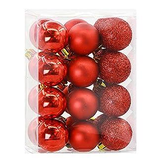 FeiliandaJJ-24pcs-Weihnachtskugel-Weihnachtsdeko-Ball-glnzend-und-poliert-Matt-Ornamente-Dekoration-Weihnachten-Anhnger-Party-Home-Weihnachtsbaum-Deko-Christmas-Balls-Baubles-3CM