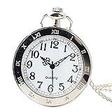 Joielavie-Taschenuhr-Einfach-Rmischen-Zahl-Blumenmuster-Verziert-Ohne-Deckel-Halskette-Legierung-Silber-Taschenuhr-Klassische-Geschenk-Herren-Damen-A