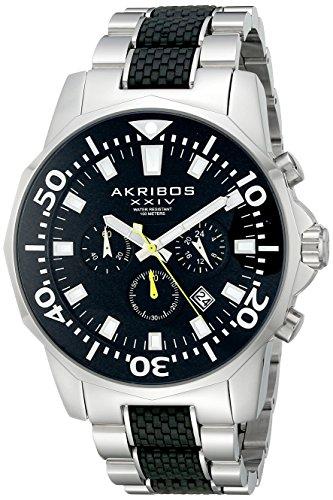 Akribos-XXIV-Herren-Conqueror-Schwarz-und-Silber-Edelstahl-Taucher-Chronograph