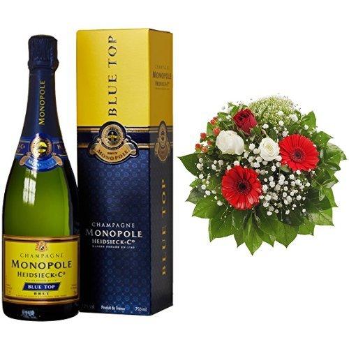 Monopole-Heidsieck-Blue-Top-Brut-Champagner-Blumenstrau-Gru-von-Herzen