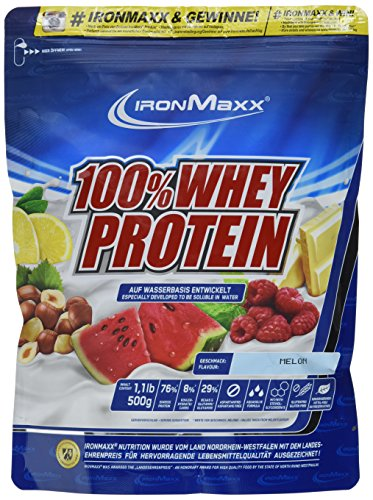 IronMaxx 100% Whey Protein / Wasserlösliches Eiweißpulver / Whey Proteinpulver mit Melonen Geschmack / 1 x 500 g Beutel