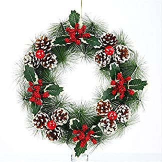 Ablerfly-Weihnachten-Tannenzapfen-Kranz-knstliche-PVC-Weihnachtsgirlande-Ring-mit-grnen-Blttern-Tannenzapfen-Pine-Needle-Red-Ball-Dekoration-38-38cm-modern