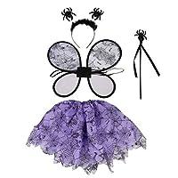 BESTOYARD-4PCS-Halloween-schwarz-lila-Spinne-Kostm-Mdchen-Kleid-up-Kostm-Fairy-Wings-Zauberstab-Stirnband-Tutu-Sets-2-8Y