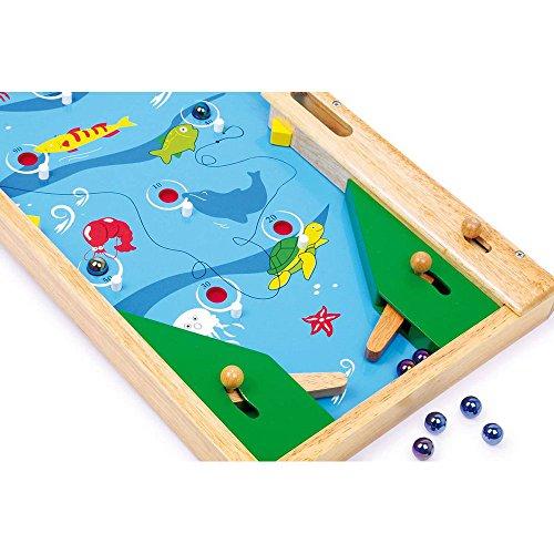 Small-Foot-by-Legler-Flipper-Fische-aus-klar-lackiertem-Buchenholz-mit-niedlichen-Meeresbewohner-Motiven-Spiel-frdert-die-Geschicklichkeit-und-Hand-Augenkoordination-inkl-Murmeln