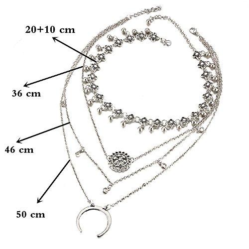 Frauen Halsketten Modische Kristall Blume Mond Alloy mehrschichtige Halsketten Anhänger Kette