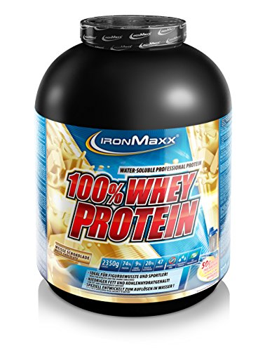 IronMaxx 100% Whey Protein / Whey Proteinpulver auf Wasserbasis / Eiweißpulver mit Weiße Schokolade Geschmack / 1 x 2,35 kg Dose