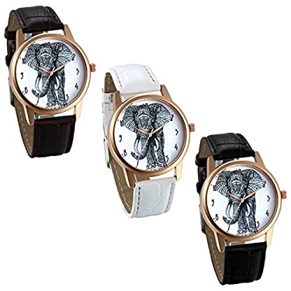 JewelryWe-Damen-Armbanduhr-Elegant-Charm-Elefant-Analog-Quarz-Uhr-Leder-Band-Quarzuhren-mit-Wei-Digital-Zifferblatt-Farbe-Schwarz-Wei-Braun