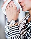 JEDIR-Damen-Uhren-Ultra-Thin-Classic-Quarzuhr-Big-Silver-Analog-Dial-mit-Datumsfenster-Zahlen-Schwarz-Soft-Leather-Strap