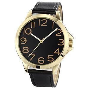 NUOVO-Herren-Uhr-Analog-Quarz-mit-Schwarz-Leder-Armband-Wasserdicht-K170044-1G-GOL