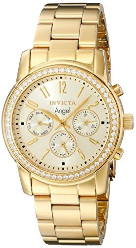 Invicta-Angel-Damen-Armbanduhr-Armband-Edelstahl-Gold-Schweizer-Quarz-17020