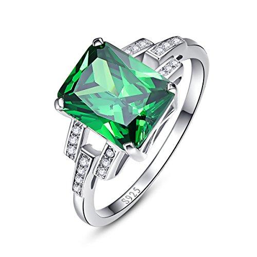 bonlavie Damen Ehering, 10,75ct Smaragdschliff Smaragd 925erSterling-Silber Hochzeits-/Verlobungsring
