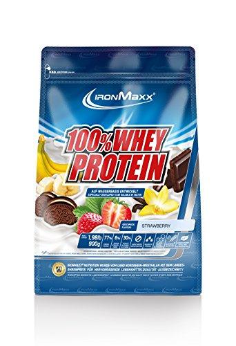 IronMaxx 100% Whey Protein / Proteinpulver auf Wasserbasis für Fitness-Shake / Eiweißpulver mit Erdbeer Geschmack / 1 x 900 g Beutel