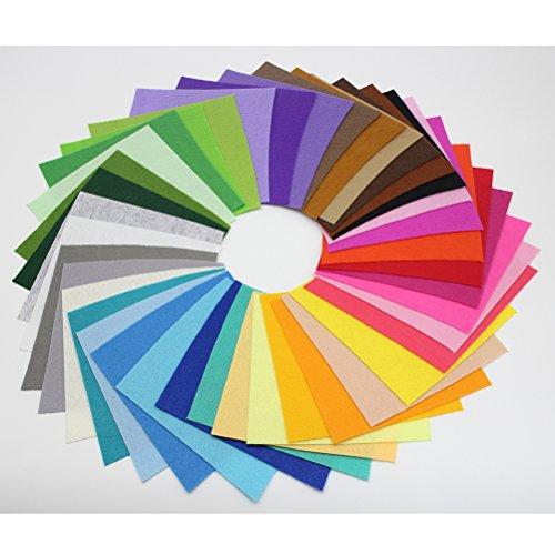 ROSENICE Kinder DIY Filzstoff Bunt Filzplatten 40 Farben 10 x 15 cm