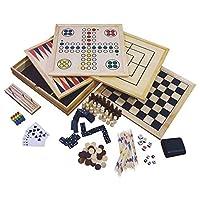Holz-Spielesammlung-Spielset-10-Spielklassiker-Reisespiele-Familienspiele-Spiele