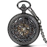 JewelryWe-Herren-Taschenuhr-Retro-Spinnennetz-Design-Handaufzug-Mechanische-Kettenuhr-Skelett-Uhr-mit-Halskette-Kette-Umhngeuhr-Schwarz