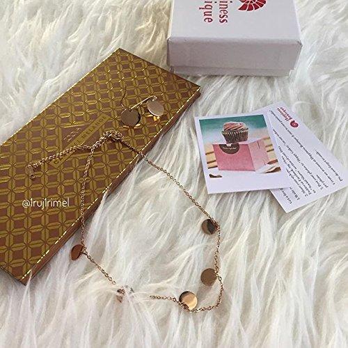 Happiness Boutique Damen Schmuckset Plättchendesign in Roségold | Kette mit Runden Anhängern und Ohrhänger mit Plättchen im Geometrischen Design