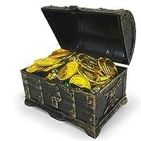 TOYMYTOY-Mini-Piraten-Schatzkiste-Box-mit-100-Goldmnzen-100-Edelsteine-Diamanten-2-Ohrring-2-Ringe