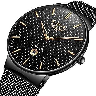 Armbanduhr-Edelstahl-Klassische-einfache-Luxus-Business-Casual-Uhren-wasserdicht-Quarz-Milanaise-Mesh-Band-Armbanduhr-Schwarz