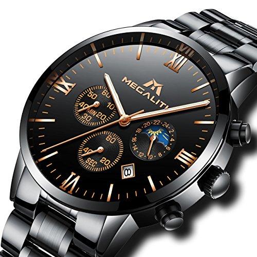 Herren-Schwarz-Militr-Edelstahl-Uhren-Herren-Chronograph-Luxus-Wasserdicht-Datum-Kalender-Gro-Design-Armbanduhr-Mnner-Sport-Mode-Kleid-Multifunktions-Stopuhr-Modisch-Analog-Quarz-Uhr-Schwarz