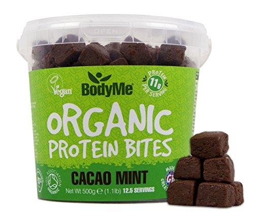 BodyMe Bio Vegane Protein Snacks Bisse | Roh Kakao Minze | 500g (12.5 x 40g Portionen) | Mit 3 Pflanze Proteine
