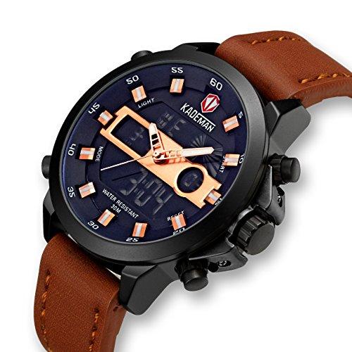 Herren-Uhren-Mnner-Militr-Digital-Sport-Wasserdicht-Groe-LED-Braun-Leder-Armbanduhr-Mann-Multifunktions-Wecker-Datum-Kalender-Analoge-Digitaluhr-Rose-Gold