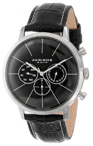 Akribos-XXIV-Herren-Armbanduhr-aus-Edelstahl-mit-Armband-aus-geprgtem-Leder-die-ultimative-Multifunktions-Uhr-AK647SS
