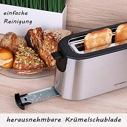 TZS-First-Austria-2-Scheiben-gebrsteter-Edelstahl-Langschlitztoaster-1000W-integrierter-Brtchenaufsatz-Cool-Touch-Gehuse-Krmelschublade-Brunungsgrad-einstellbar-Langschlitz-Toaster-schwarz