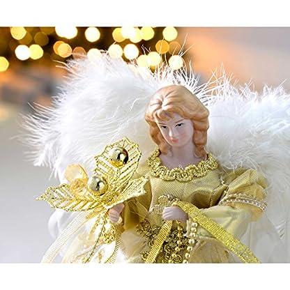 WeRChristmas-Engel-Dekoration-Weihnachten-Weihnachtsbaumspitze-mit-Feder-Flgel-30-cm
