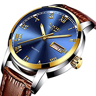 Uhren-Herren-Casual-Fashion-Analog-Quarz-Leder-Wasserdicht-30-M-Kalender-Business-Kleid-Armbanduhr