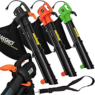 MASKO-Laubsauger-3-in-1-Elektro-Laubblser-3000W-mit-Schultergurt-und-Rollen-Fangsack-45L-Geblse-Hcksler-Gartensauger-Gartenblser-Blasgert