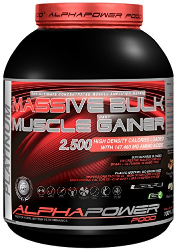 ALPHAPOWER FOOD® POWERPURE SERIES: 100%Massive Bulk-Muscle Hard Gainer Platinum Standard – Kohlenhydrate Eiweiss Protein Shake Muscle HardGainer, Dose (1 x 2000g) Vanilla Iceream Weight Gainer