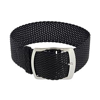 Minott-Ersatzband-Uhrenarmband-Perlonband-Durchzugsband-Textilband-28691-Farbeschwarz-Stegbreite18mm-SchlieeSilbern