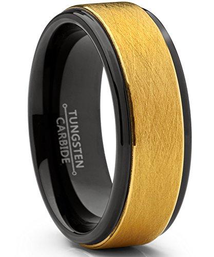 Ultimate Metals Co.® 8mm Herren Schwarz und Gold Wolframcarbid Ehering Gebürstet, Bequemlichkeit Passen