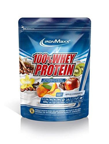 IronMaxx 100% Whey Protein / Proteinpulver für Eiweißshake / Eiweißpulver auf Wasserbasis mit Apfel-Zimt Geschmack / 1 x 500 g Beutel