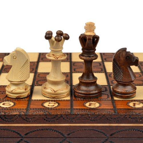 Schach-Schachspiel-Junior-European-International-Schachfiguren-Schachbrett-aus-Holz-Handgefertigt-in-Polen