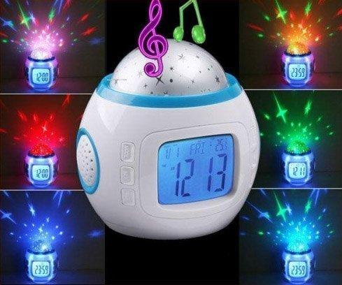 PREMIUM-LED-Wecker-Sternenhimmelprojektor-digital-10-Melodien-Mond-und-Sterne-Uhr-Nachtlicht-fr-Kinder-Lampe-Leuchte-Dekoleuchte-Stern-Sterne-Deko-Weihnachtsdeko-Sternenhimmel-Projektor