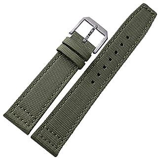 Neue-21-mm-schwarz-grn-Nylon-Canvas-Leder-Uhrenarmband-Band