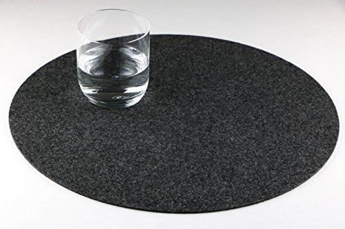 GILDE Filz Platzset Tischset rund, 4er Set, waschbar, Handwerk (dunkelgrau/anthrazit grau)