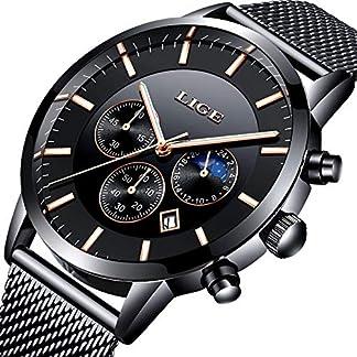 Uhr-HerrenSchwarze-Mode-ChronographenEdelstahl-Wasserdich-Blau-Quartz-Milanaise-Mesh-Armband