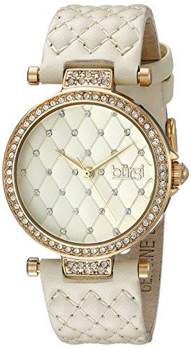 Burgi-Damen-Armbanduhr-goldfarben-Swarovski-Kristall-mit-gestepptes-Band