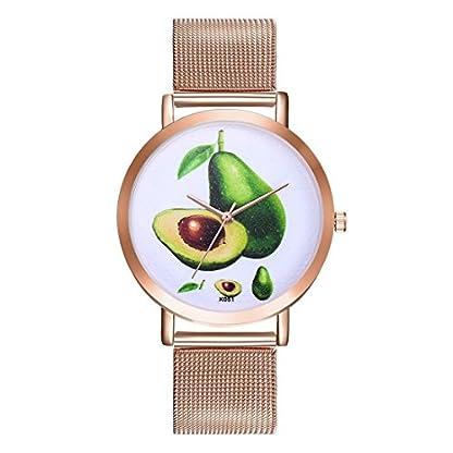 Souarts-Damen-Armbanduhr-Avocado-Einfach-Mesh-Metallarmband-Casual-Analoge-Quarz-Wasserdicht-Uhr-Rosegold