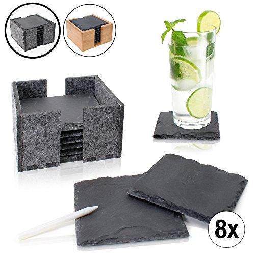 Amazy Schiefer Untersetzer Set (8 Stück) inkl. Kreidestift – Dekorative Glasuntersetzer aus 100% Natur Schieferplatten mit praktischem Halter aus Filz – Tolle Geschenkidee (eckig   10×10 cm)