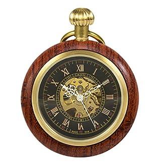 TREEWETO-Holz-Taschenuhr-Retro-Handaufzug-Herren-Mechanische-Taschenuhren-Skelett-Uhr-Rmische-Ziffern-mit-Kette-und-Geschenkbox