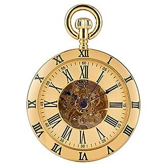 XDKHG-Montre-de-poche-GoldSilber-rmischen-Ziffern-Display-offenes-Gesicht-mechanische-Automatik-Taschenuhr-Retro-Mnner-Frauen-Tasche-Anhnger-Uhr