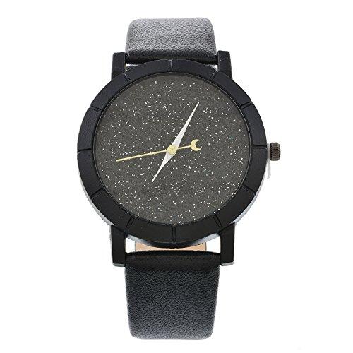 Homim-Damen-Armbanduhr-PU-Leder-Armband-Strass-Schwarz-Zifferblatt-Frauen-Glitzer-Analog-Quarzuhr-Dornschliee-Batterie-Uhrwerk