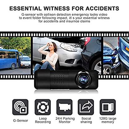 Upgraded-Yakola-Y6-WiFi-Dash-Cam-Full-HD-360-Fisheye-Panoramic-mini-1080P-Dashboard-Camera-Recorder-Car-Dash-Camera-with-G-Sensor-24H-Parking-Monitoring-Loop-Recording-300Rotate-Angle-Super-Nigh